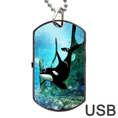 Orca Swimming In A Fantasy World Dog Tag USB Flash (Two Sides)