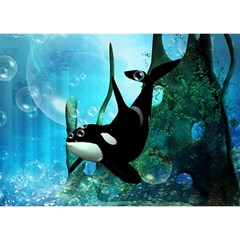 Orca Swimming In A Fantasy World Birthday Cake 3d Greeting Card (7x5)