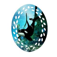 Orca Swimming In A Fantasy World Ornament (Oval Filigree)