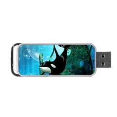 Orca Swimming In A Fantasy World Portable Usb Flash (one Side)