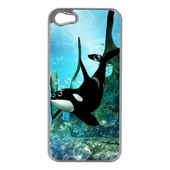 Orca Swimming In A Fantasy World Apple iPhone 5 Case (Silver)