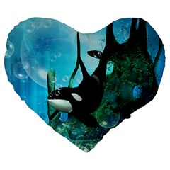 Orca Swimming In A Fantasy World Large 19  Premium Heart Shape Cushions
