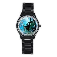 Orca Swimming In A Fantasy World Stainless Steel Round Watches