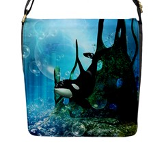 Orca Swimming In A Fantasy World Flap Messenger Bag (L)