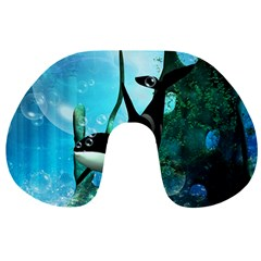 Orca Swimming In A Fantasy World Travel Neck Pillows