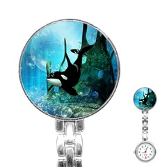Orca Swimming In A Fantasy World Stainless Steel Nurses Watches