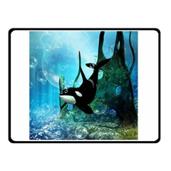 Orca Swimming In A Fantasy World Double Sided Fleece Blanket (small)