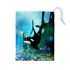 Orca Swimming In A Fantasy World Drawstring Pouches (Large)