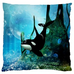 Orca Swimming In A Fantasy World Large Flano Cushion Cases (Two Sides)
