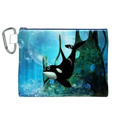 Orca Swimming In A Fantasy World Canvas Cosmetic Bag (XL)