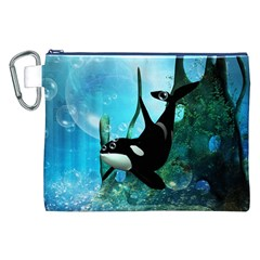 Orca Swimming In A Fantasy World Canvas Cosmetic Bag (xxl)