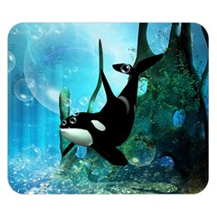 Orca Swimming In A Fantasy World Double Sided Flano Blanket (Small)
