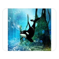 Orca Swimming In A Fantasy World Double Sided Flano Blanket (Large)