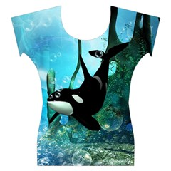 Orca Swimming In A Fantasy World Women s Cap Sleeve Top