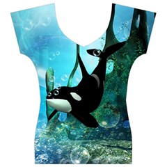 Orca Swimming In A Fantasy World Women s V-Neck Cap Sleeve Top
