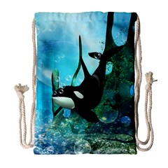 Orca Swimming In A Fantasy World Drawstring Bag (large)