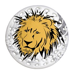Lion Round Filigree Ornament (2Side)