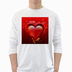 Heart White Long Sleeve T Shirts