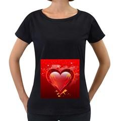 Heart Women s Loose Fit T Shirt (black)