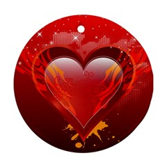 heart Round Ornament (Two Sides)
