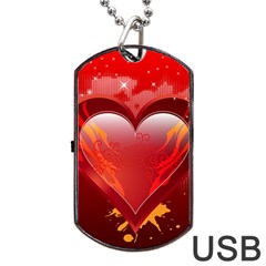 heart Dog Tag USB Flash (One Side)