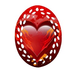 heart Oval Filigree Ornament (2-Side)