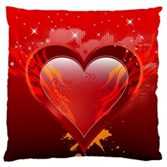 heart Large Flano Cushion Cases (One Side)