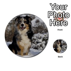 Australian Shepherd In Snow 2 Multi-purpose Cards (Round)