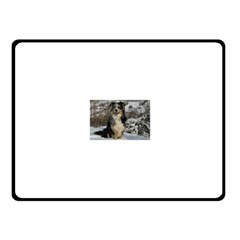 Australian Shepherd In Snow 2 Fleece Blanket (Small)