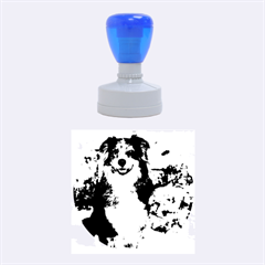 Australian Shepherd In Snow 2 Rubber Round Stamps (Medium)