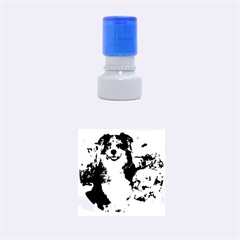 Australian Shepherd In Snow 2 Rubber Round Stamps (Small)