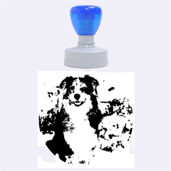 Australian Shepherd In Snow 2 Rubber Round Stamps (Large)