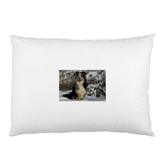 Australian Shepherd In Snow 2 Pillow Cases (Two Sides)