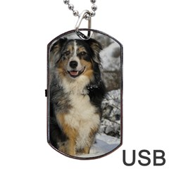 Australian Shepherd In Snow 2 Dog Tag USB Flash (One Side)