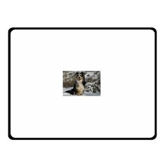 Australian Shepherd In Snow 2 Double Sided Fleece Blanket (Small)