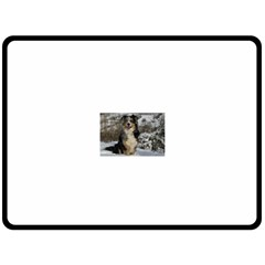 Australian Shepherd In Snow 2 Double Sided Fleece Blanket (Large)