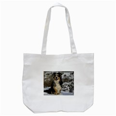 Australian Shepherd In Snow 2 Tote Bag (White)
