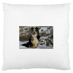 Australian Shepherd In Snow 2 Large Flano Cushion Cases (Two Sides)