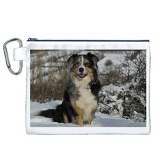 Australian Shepherd In Snow 2 Canvas Cosmetic Bag (XL)