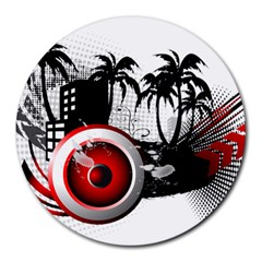 music, speaker Round Mousepads