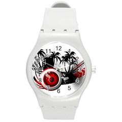 music, speaker Round Plastic Sport Watch (M)
