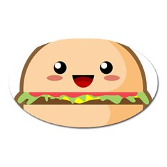 Kawaii Burger Oval Magnet
