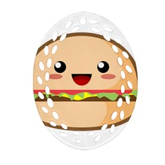 Kawaii Burger Oval Filigree Ornament (2-Side)