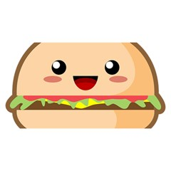 Kawaii Burger You Are Invited 3d Greeting Card (8x4)