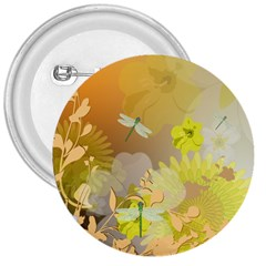 Beautiful Yellow Flowers With Dragonflies 3  Buttons