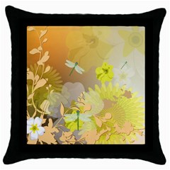 Beautiful Yellow Flowers With Dragonflies Throw Pillow Cases (Black)