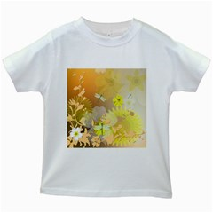 Beautiful Yellow Flowers With Dragonflies Kids White T-Shirts