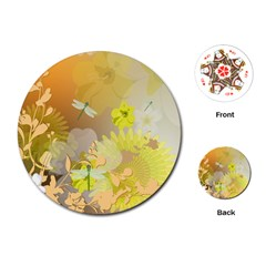 Beautiful Yellow Flowers With Dragonflies Playing Cards (Round)