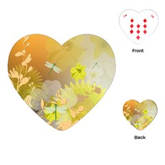 Beautiful Yellow Flowers With Dragonflies Playing Cards (Heart)