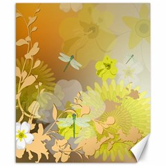 Beautiful Yellow Flowers With Dragonflies Canvas 8  x 10